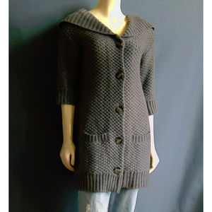 Vince Gray Wool Cashmere Sweater Coat M